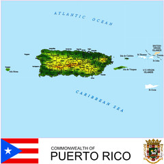 Puerto Rico USA counties name location map background