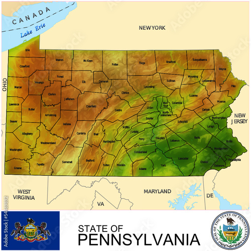 Pennsylvania USA counties name location map background