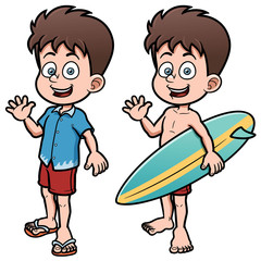 Vector illustration of Boy Surfer with Surfboard