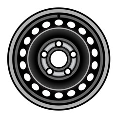 vector black car iron wheel rim
