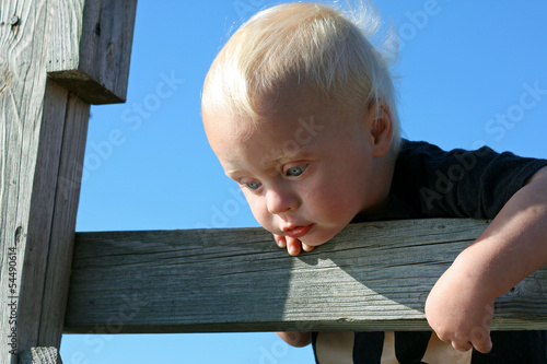 Baby Looking Through Fence Posts to Water Below