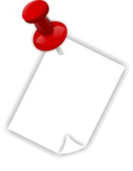 Red push pin and paper