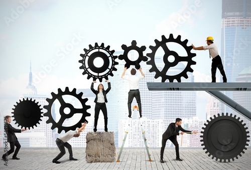 Leinwanddruck Bild Teamwork of businesspeople