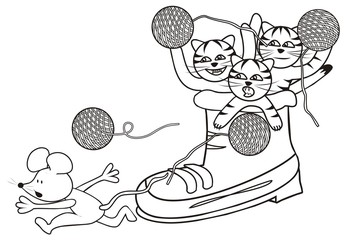 shoe and kittens - coloring