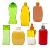 Collection of isolated shampoo bottles and soap dispensers