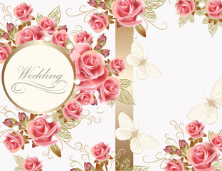 Wedding greeting card design with roses
