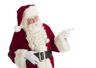 Santa Claus Pointing Towards Copy Space