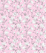 Seamless pink pattern with a blossoming magnolia