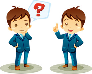 cartoon office worker set question and answer