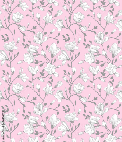 Tapeta ścienna na wymiar Seamless pink pattern with a blossoming magnolia