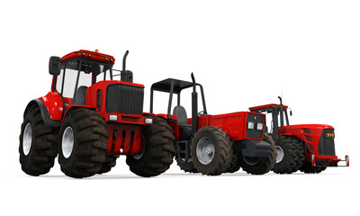 Red Tractors Isolated
