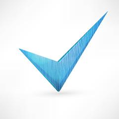 blue checkmark.