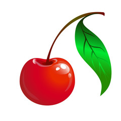 ripe red cherry with a green leaf