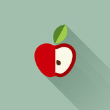 Apple with leaf. Vector illustration