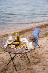 picnic seafood near the sea