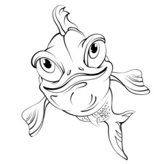 Cartoon fish smiling. Drawing style black on white.