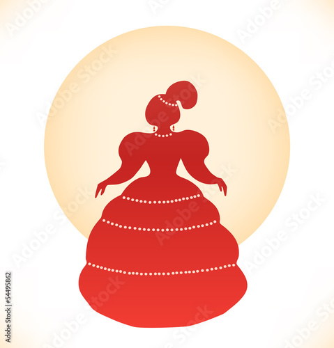 Vintage woman silhouette. Lady in ball dress