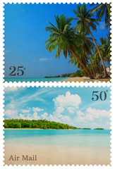 Vintage postage stamps with tropical beach and small island