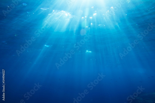 Leinwanddruck Bild Underwater shot with sunrays and fishes in deep tropical sea