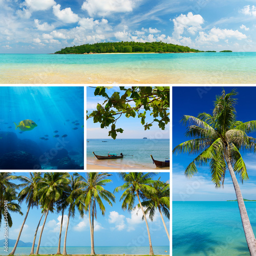 Beautiful collage of tropical images, beach, palm trees, island