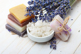 Handmade natural soap with lavender and sea salt on wooden table