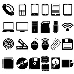 Set of Mobile and Computer Devices Icons