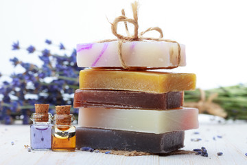 Stack of handmade natural soap with lavender