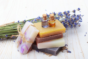 Natural handmade soap with lavender and essential oil