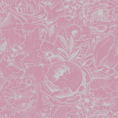 Seamless vintage pattern with lush flowers. Pink, Silver