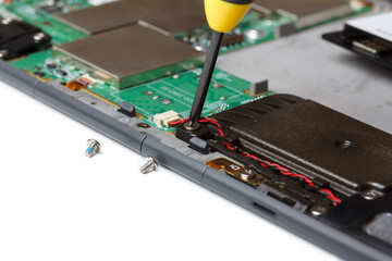 Repair of the electronic device close-up