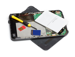 Tablet computer repair, isolated on white