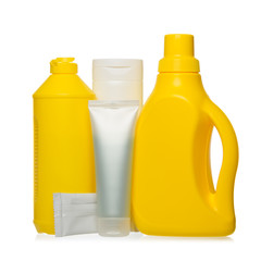 Cleaning and hygiene products in blank plastic containers