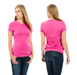 Female with blank pink shirt and long hair