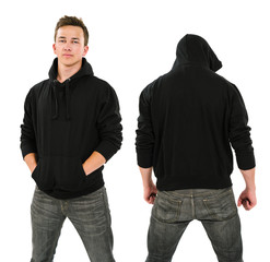 Male with blank black hoodie