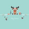 Sitting Christmas Reindeer & Symbols Retro