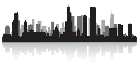Chicago city skyline silhouette