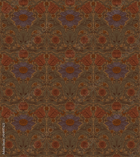 Vintage brown seamless pattern baroque