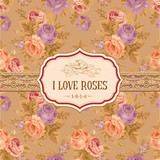 Postcard or background with vintage roses