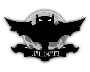 Holloween Dark Bat And Moon