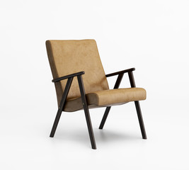 Isolated beige leather armchair