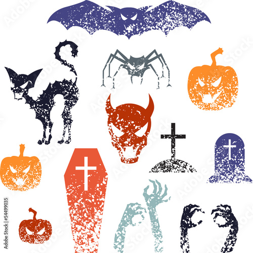 Happy Halloween symbols with grunge texture.