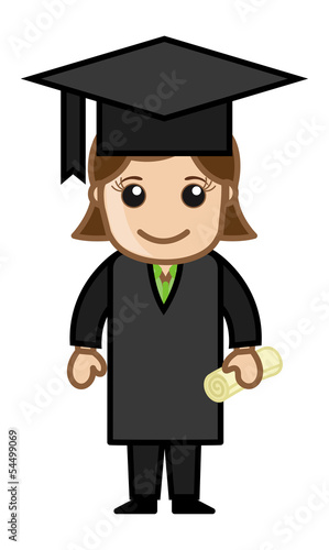 Graduate Woman - Cartoon Office Vector Illustration