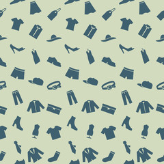 Seamless pattern with clothes, footwear and accessories.