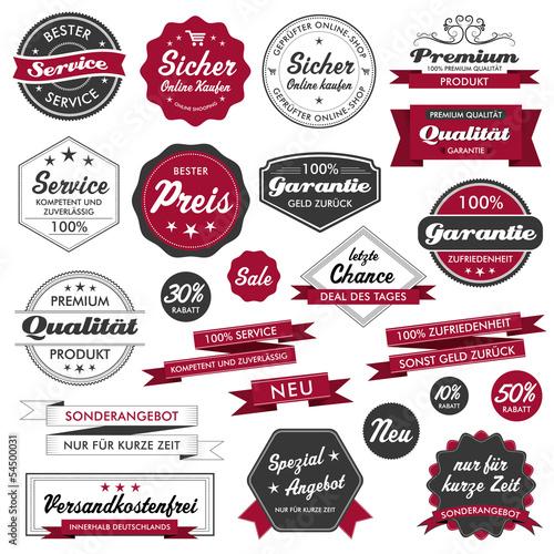Button Siegel Premium Set Angebot Sale Service Qualität Logo rot