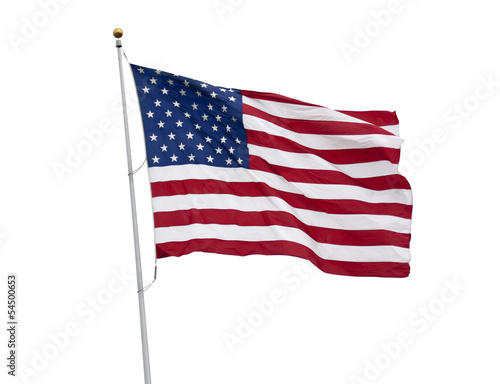American flag isolated on white with clipping path