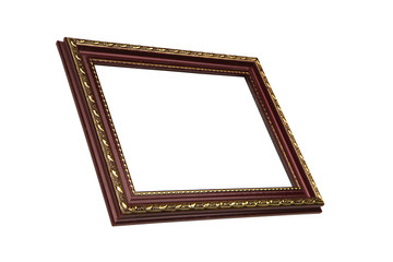Dark brown wooden picture frame with golden pattern, isolated on