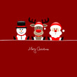 Xmas Sitting Snowman, Rudolph & Santa Red Background