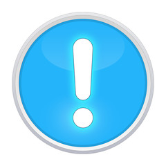 exclamation point light blue button round