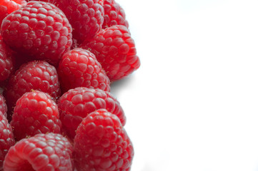 Raspberry - White Background with half side negative space