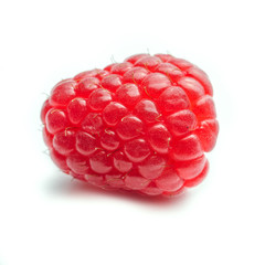 One single Raspberry against a white background - square
